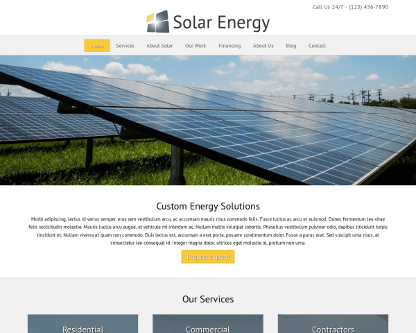 Zonne-energie WordPress Thema