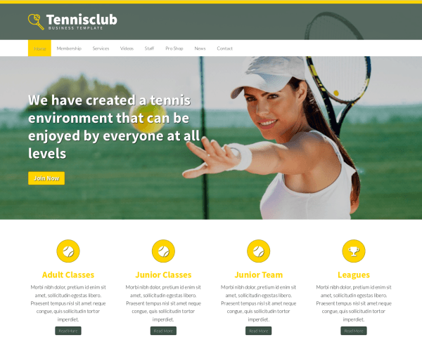 Tennis club WordPress Thema