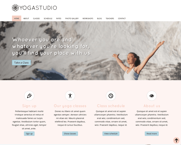 Yoga studio WordPress Thema